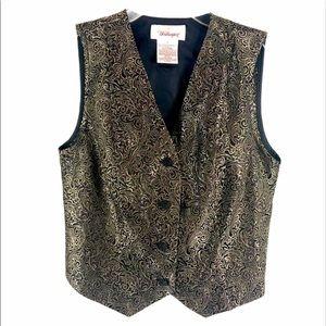 Vintage Metallic Embroidered Vest, Size 6